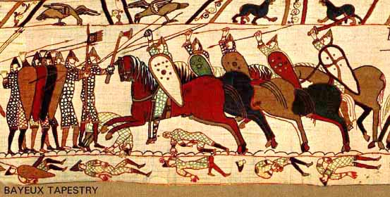 Early medieval Norman knights charging English foot-soldiers at the Battle of Hastings (1066 C.E.) from the Bayeux Tapestry