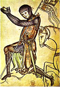 Illustration of a knight (ca. 1250 C.E.), thought by some to represent King Henry III of England